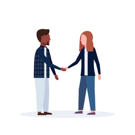 mix race man woman couple handshake casual businesspeople colleagues shaking hands business agreement and partnership concept flat full length isolated vector illustration