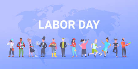 labor day poster people of different professional occupation holiday celebration concept standing together over world map background flat horizontal vector illustration