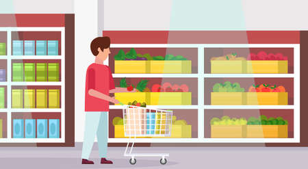 man carrying full trolley cart of food purchases big grocery shop supermarket interior male customer super market shopping concept full length flat horizontal vector illustration