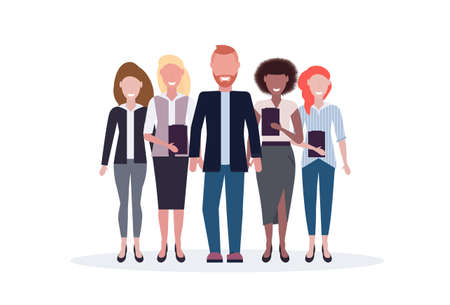 businesspeople standing together mix race business people team happy colleagues successful teamwork concept male female office workers full length isolated flat horizontal vector illustration