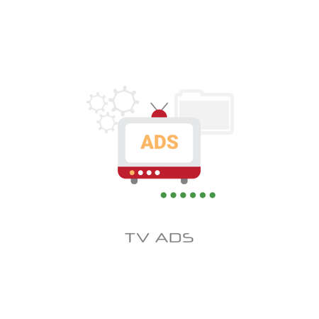 advertisement marketing promotion tv ads concept white background line style vector illustration