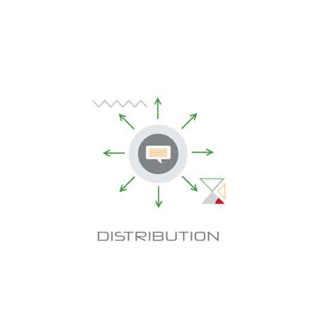 logistic shipping delivery service distribution concept arrows pointing directions line style white background vector illustration Banque d'images - 125333750