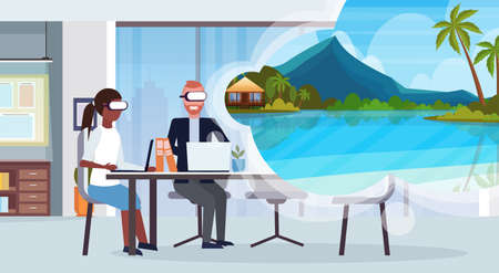 mix race business couple wearing digital glasses virtual reality tropical sea beach seascape summer vacation headset vision concept office interior horizontal vector illustration
