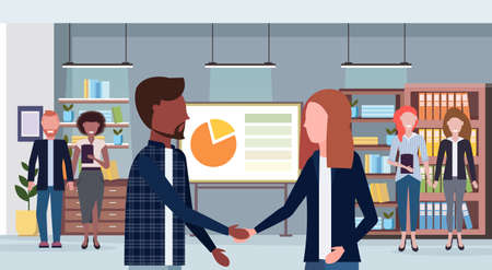 businesspeople handshake mix race man woman shaking hands business agreement and partnership concept office conference room interior flat closeup portrait horizontal vector illustration