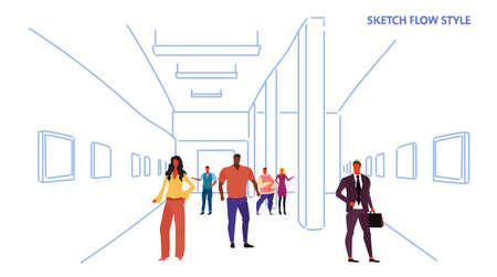 tourists looking modern art gallery mix race visitors viewing exhibits contemporary paintings artworks museum hall interior sketch flow style horizontal vector illustration