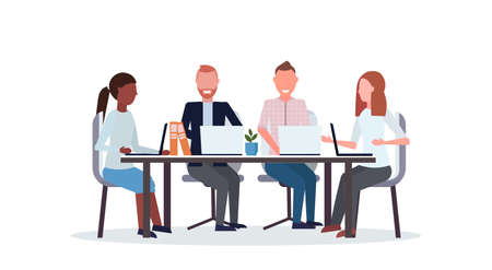 businesspeople group meeting conference mix race coworkers using laptop sitting at round table co-working center workspace flat isolated horizontal vector illustration Ilustração