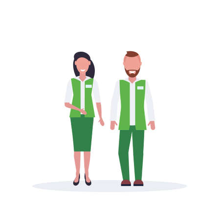 couple man woman supermarket employees standing together salesman and saleswoman in green uniform happy male female cartoon characters full length flat isolated vector illustration Ilustrace