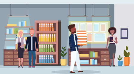 mix race businesspeople team work process co-working center concept colleagues meeting working office conference room interior flat full length horizontal vector illustration Ilustração