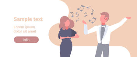 elegant couple of singers man woman singing song wearing elegant clothes music band concept male female cartoon characters portrait flat horizontal copy space vector illustration Illustration