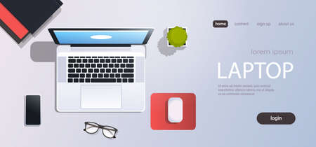 workplace desk laptop computer top angle view cell smaprthone office stuff flat copy space horizontal vector illustration