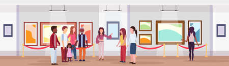 guide lady and mix race tourists group in modern art gallery museum interior looking creative contemporary paintings artworks or exhibits flat horizontal banner full length vector illustration