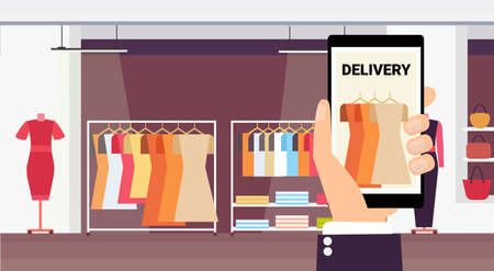 human hand holding smartphone online delivery mobile application shopping concept fashion shop female clothes modern boutique interior horizontal flat vector illustration