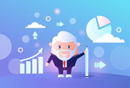 senior businessman analyzing arrow up growth finance chart infographic business man financial data analyzing report male cartoon character full length flat horizontal vector illustration