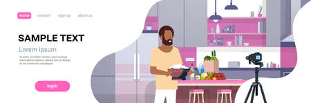 guy food blogger recording video on camera african american man preparing tasty dish modern kitchen interior cooking blog concept male character portrait flat copy space horizontal vector illustration Ilustrace