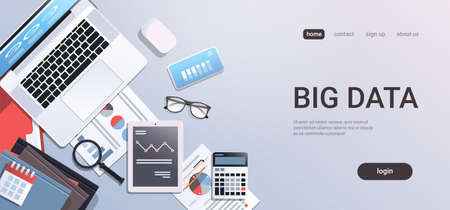 big data concept workplace desk with office stuff top angle view tablet laptop computer paper documents report finance graph flat copy space horizontal vector illustration