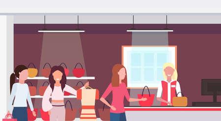women customers standing line queue to cash desk counter big fashion shop super market female shopping mall interior modern boutique horizontal portrait flat vector illustration