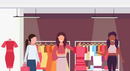 mix race customers holding dresses fashion boutique big shop female clothes shopping mall interior cartoon characters portrait flat horizontal vector illustration