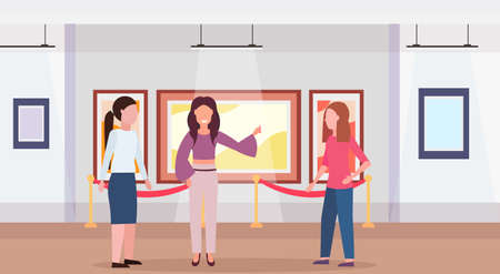 guide lady and women tourists in modern art gallery museum interior looking creative contemporary paintings artworks or exhibits flat horizontal full length vector illustration