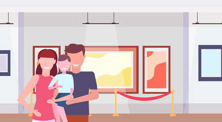 family visitors in modern art gallery museum interior parents with little son looking contemporary paintings artworks or exhibits flat horizontal portrait vector illustration
