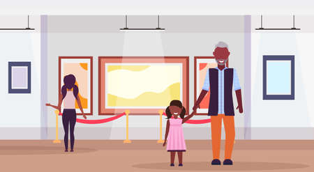 family visitors in modern art gallery museum interior african american grandfather with granddaughter looking contemporary paintings artworks or exhibits flat horizontal full length vector illustration Vettoriali
