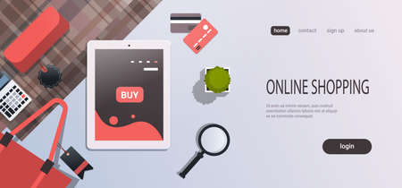 tablet screen sale mobile application online shopping concept workplace desk top angle view office stuff flat copy space horizontal vector illustration
