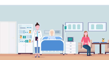 female doctor and girl visiting patient senior woman lying bed intensive therapy ward healthcare concept hospital room interior modern medical clinic horizontal vector illustration