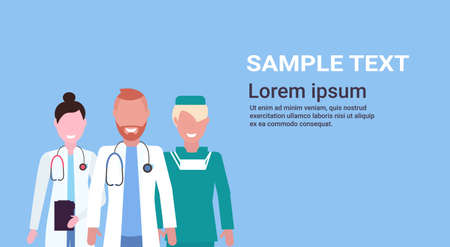 group of medical doctors team in uniform standing together over blue background hospital medical clinic workers portrait flat horizontal copy space vector illustration