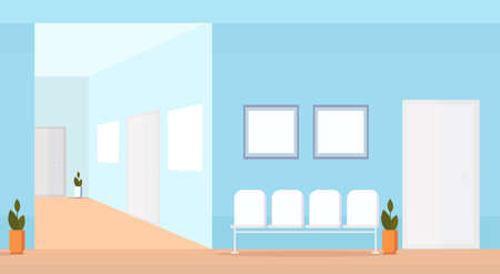hospital waiting hall with seats empty no people medical clinic corridor interior horizontal flat vector illustration