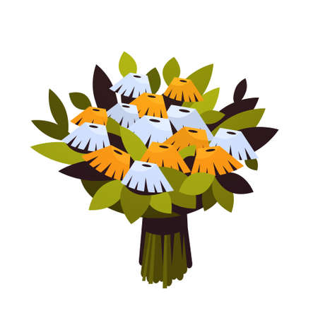 bouquet of flowers 8 march happy womens day concept beautiful floristry for holidays white background flat vector illustration Ilustração