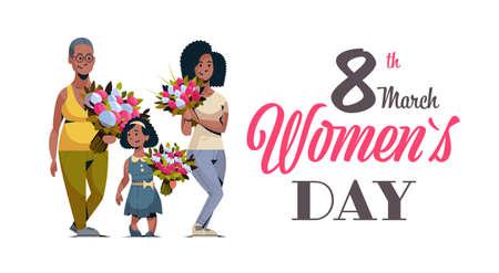 heureux trois générations de femmes afro-américaines tenant un bouquet de fleurs le 8 mars international célébrant le concept de personnages féminins carte de voeux horizontale pleine longueur illustration vectorielle