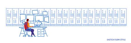 man sitting workplace desk working in data center room hosting server computer monitoring concept information database rear view worker sketch flow style horizontal banner vector illustration Imagens - 117139443