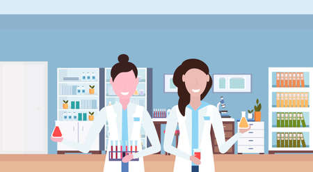 couple female scientists working in hospital laboratory women researchers holding test tubes workplace office furniture medical clinic lab interior closeup portrait horizontal vector illustration Illustration