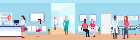 mix race patients and doctors in hospital waiting hall with reception seats and bed helthcare concept medical clinic corridor interior horizontal flat vector illustration