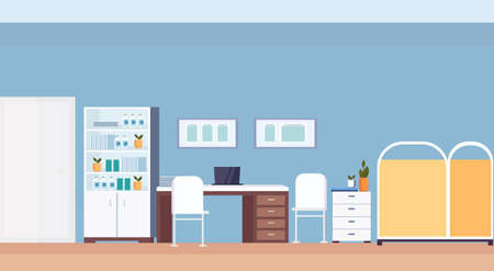 empty pediatrician workplace desk modern hospital office interior clinic room with furniture flat horizontal vector illustration  イラスト・ベクター素材