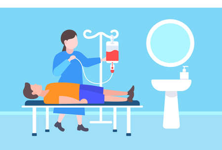 female doctor visiting to injured patient lying in medical bed nurse takes care of sick man healthcare concept clinic ward modern hospital interior flat horizontal full length vector illustration  イラスト・ベクター素材