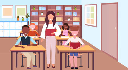 woman teacher reading book during lesson mix race pupils sitting desks education concept modern school classroom interior horizontal flat vector illustration