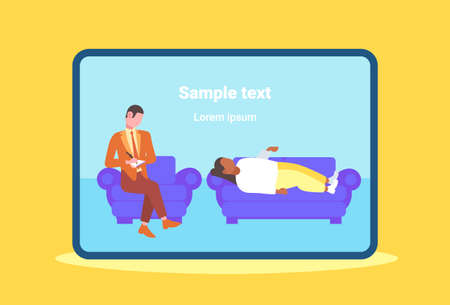 male doctor writing medical prescription for woman patient lying on couch at home healthcare medicine concept flat full length horizontal copy space vector illustration