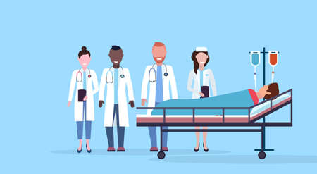 mix race doctors team visiting patient man lying bed intensive therapy ward healthcare concept hospital room blue bckground modern medical clinic horizontal vector illustration  イラスト・ベクター素材