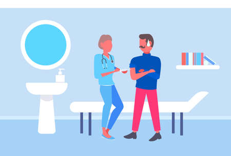 female doctor giving injection vaccine shot to male patient vaccination concept modern hospital room interior full length flat horizontal vector illustration
