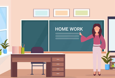 woman teacher writing home work at chalk board modern school classroom interior female cartoon character full length horizontal banner flat vector illustration