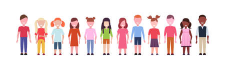 happy mix race girls and boys standing together diversity little children group male female cartoon characters full length flat white background horizontal banner vector illustration Illustration