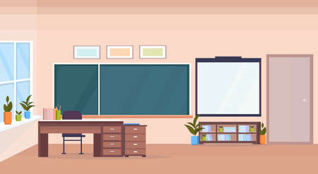 modern school classroom interior chalk board teacher desk empty no people horizontal banner flat vector illustration Stock Vector - 124991151