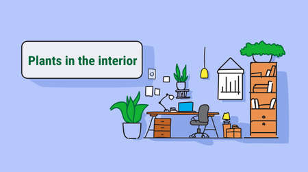 modern workplace cabinet room office workspace interior design with plants on wall empty no people colorful sketch flow style horizontal vector illustration