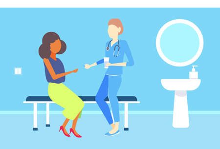 female doctor giving medications pills to african american woman patient consultation medicine and healthcare concept clinic room interior flat horizontal vector illustration