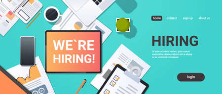 we are hiring recruitment concept top angle view desktop laptop smartphone paper document financial report office stuff horizontal copy space vector illustration Ilustração