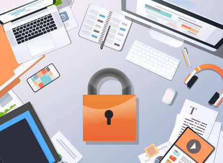 general data protection regulation GDPR concept top angle view desktop padlock privacy information safety and confidential office stuff horizontal vector illustration Illustration