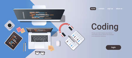 web site design development program coding concept top angle view desktop computer monitor tablet laptop screen organizer office stuff horizontal copy space vector illustration