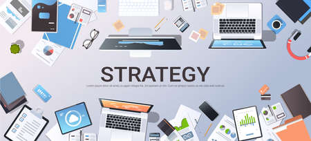 business strategy marketing plan concept top angle view desktop laptop smartphone tablet screen paper documents financial analysis report office stuff horizontal vector illustration Illustration