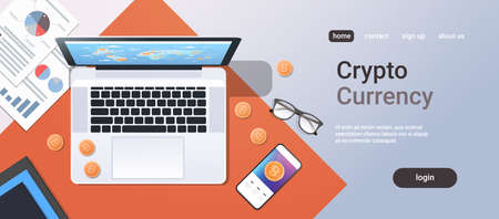 crypto currency block chain concept bitcoin mining top angle view desktop laptop smartphone paper documents financial report office stuff horizontal copy space vector illustration