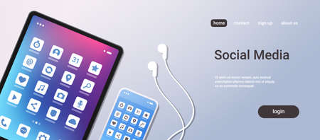social media mobile application icons creative ui colorful screen top angle view desktop tablet smartphone earphones horizontal copy space vector illustration Ilustração